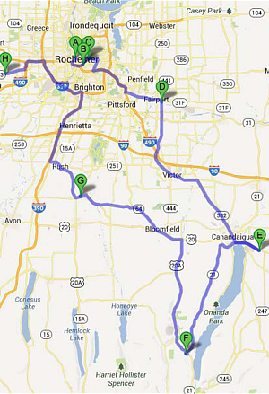 Finger Lakes Beer Trail Map on